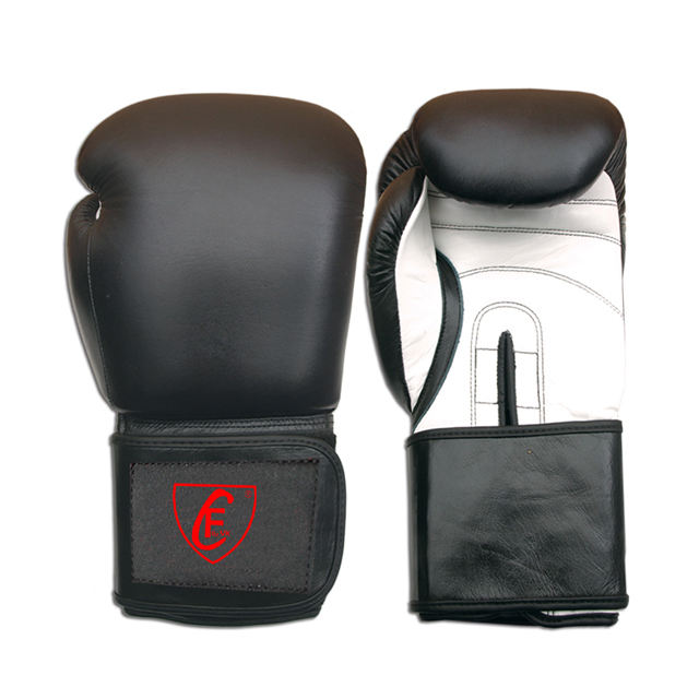 New Mma Professional High Quality Fight Boxing Gloves Cowhide Leather Black and White
