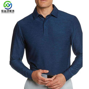 Custom 85% polyester 15% spandex high quality dark blue heather color new design man dry fit cool golf long sleeve polo t shirt