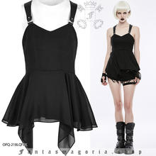 Women's casual black lose bottom tank top Punk Rave OPQ-218