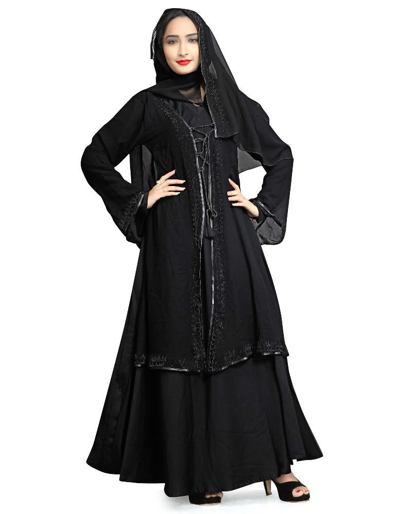 Islamic Wear 2017 Dubai Arabic Black Diamond Stone Work Abaya Burkha With Chiffon Scarf