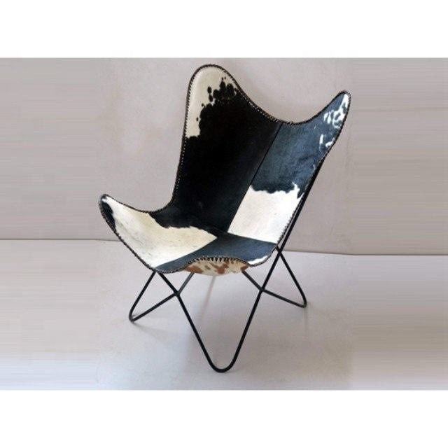 Industrial Cow Hair Genuine Leather Butterfly Design Comfort and Relaxing Chair