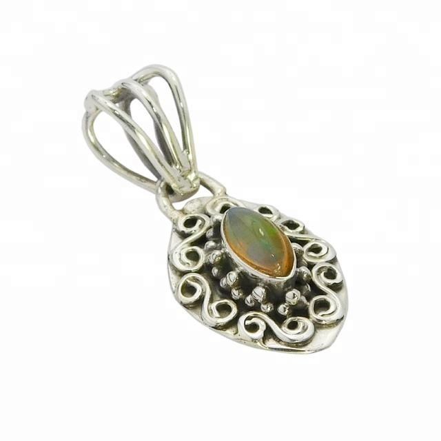 fashionable custom 925 sterling silver ethiopian opal gemstone pendant