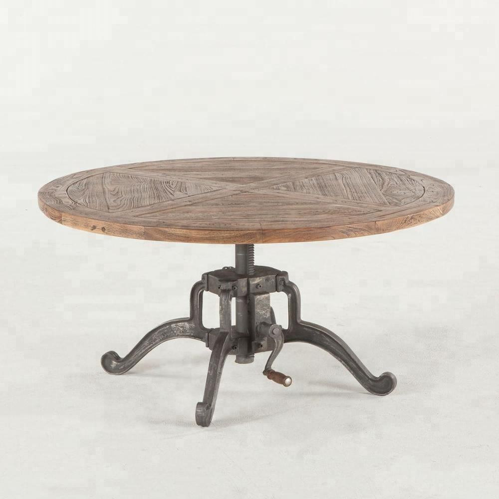 Old vintage styled crank table with round solid mango wood top