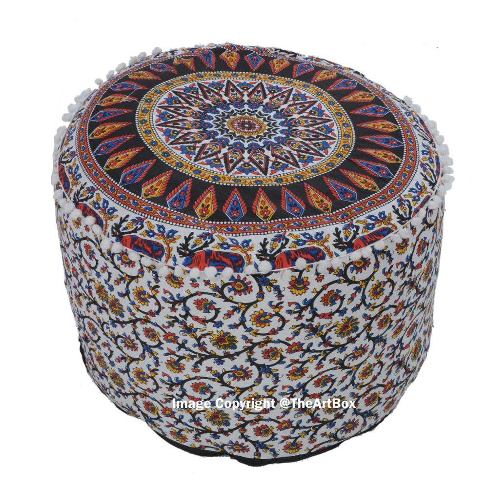 Ethnic Handmade Printed Cotton Mandala Pouf Cover Decorative Footstool Stool Ottoman Outdoor Furniture Pouffeカバー