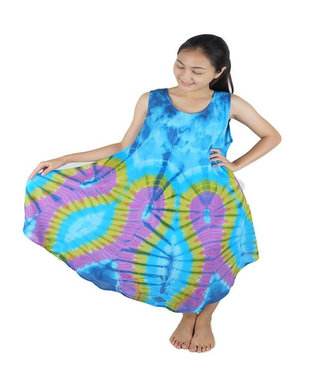 Iyara Rayon Tie Dye Cover up Casual Short Beach Sleeveless Dress
