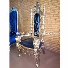 Gold Black Antique King Lion King Hand Wood Carved High Back Throne Chair otherhomefurniture