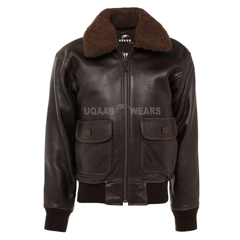 Men Flight Navy Pilot Bomber Genuine Leather Fur Shearling Collar Aviator Flying Jacket G-1 Removable Fur Collar Naval Jacket