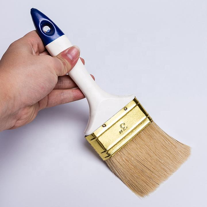 long bristle and Filament Paint brush with blue & white fresh plastic handle