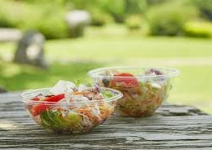 biodegradable packaging for food and salad bowl