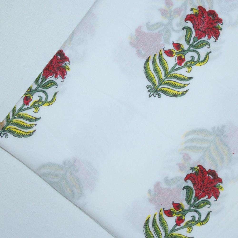 Floral Modern Hand Block Printed Fabric Mulmul 100% Pure Cotton Indian Jaipuri Material Textile