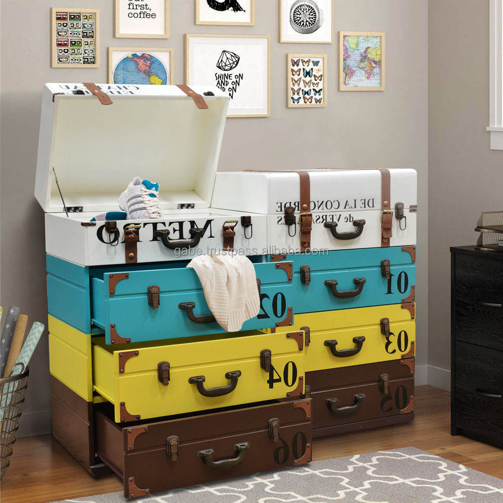 Art Furniture Chest Of 8 Drawers, Suite Case Shaping Front Side Multi Color
