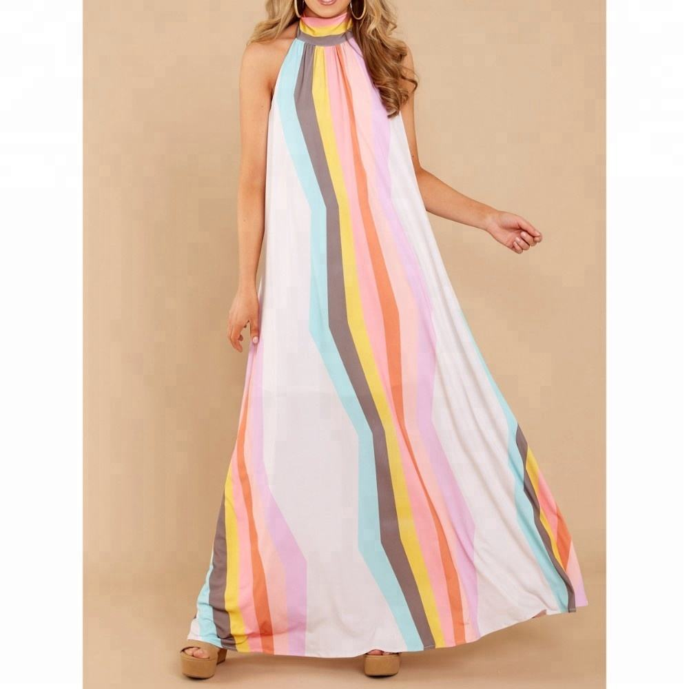 Multi Color Digital Printed long Maxi Dresses Halter neck long one piece Sleeveless Women wear long dresses