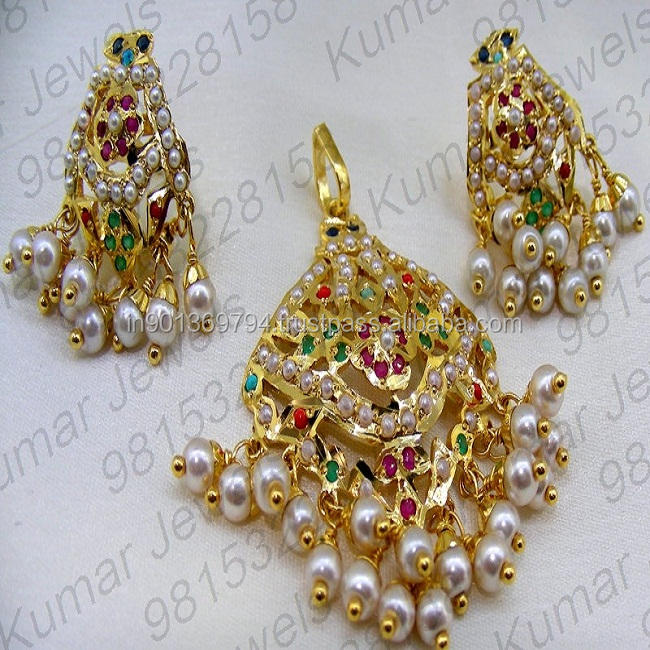 Traditional Punjabi Style 22kt Gold plated Navratan Stone Pearl Beaded Indian Ethnic Wear Colored Pendant Set Jewelry