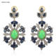 Pave Diamond Flower Earrings Blue Sapphire & Green Turquoise Gemstone Vintage Jewelry
