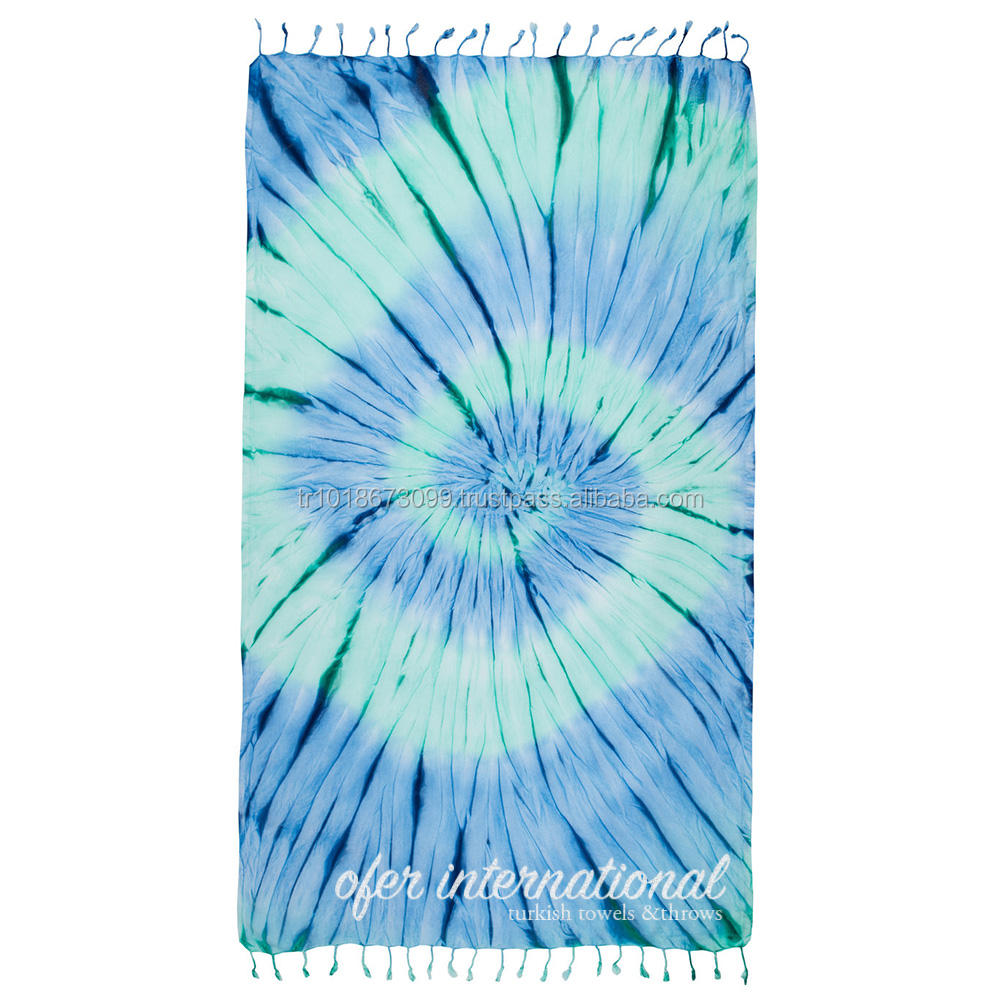 Tiedye Peshtemal Beach Turkish Towels - Hand dyed - Sand free - 100% Cotton - One of a kind - Handmade - Blues