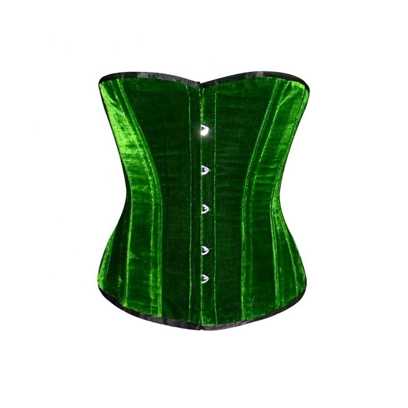 Over bust Steel Boned Corset Bustier in Green Velvet