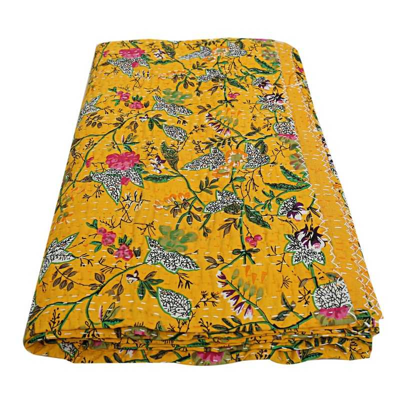 Handmade Kantha Blanket Hand Stitches Kantha Throw Wholesale Indian Kantha Quilt