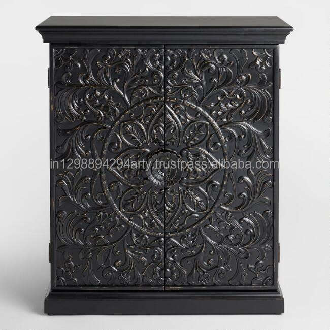 Antique Style Solid Wood Dining Room Furniture 2 Doors Carved Black Sideboard crockery unit distressed finish mango wood storage