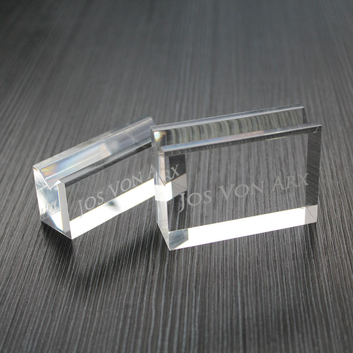 Custom Acrylic Slotted Logo Block Clear Transparent Plexiglass Brand Block With Solt