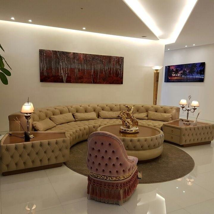 Luxury U shape genuine leather corner sofa modern fashion creative combination large size sofa set