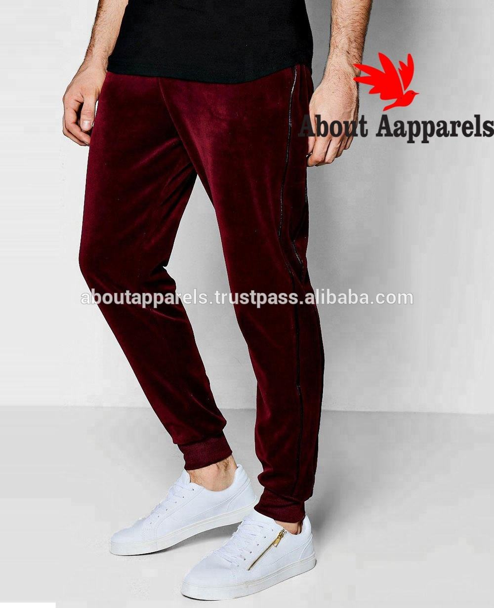 Clothes OEM Factory Wholesale Arabic Casual Twill Long Pants,Skinny Fit Velour Joggers with Piping