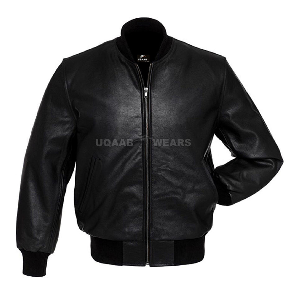 Men Real Leather Varsity Baseball University Bomber Classic Casual Fashion Bomber Genuine Leather Jacket OEM Wholesale