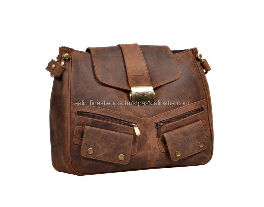 Premium Hunter Leather Cross Body Women Messenger Purse Bag Backpack Shoulder Satchel