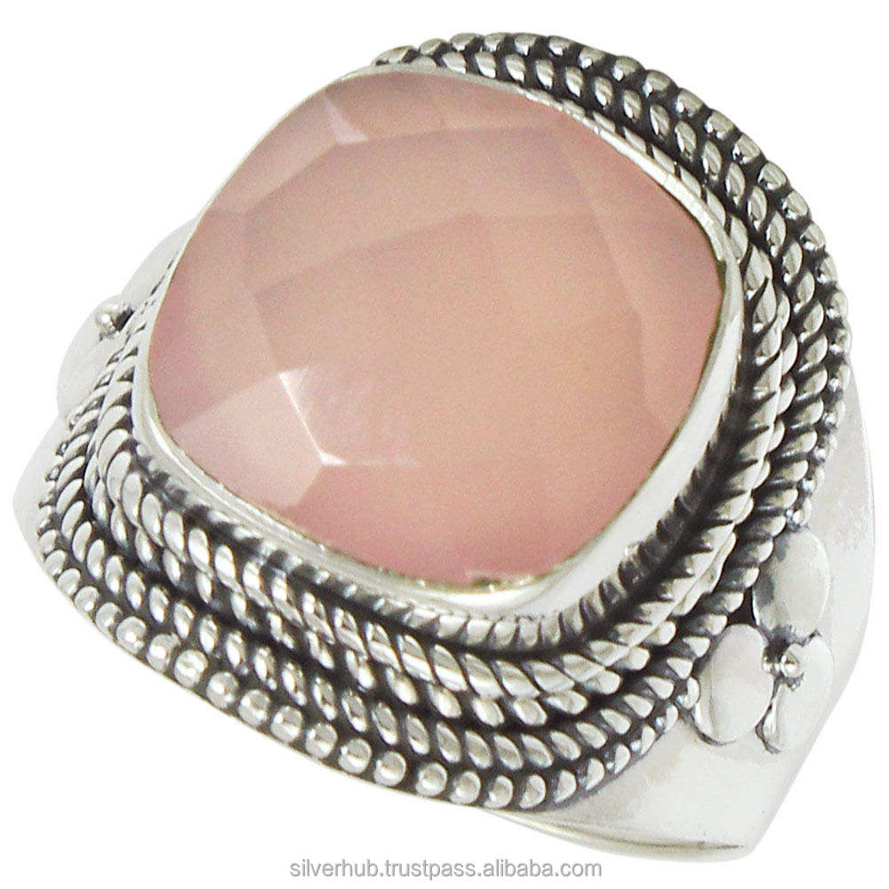 Famous 925 Sterling Silver Rose Quartz Handmade Ring Jewelry