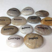 Factory supply quality beautiful river stones highly polished word stone decorative rock with customized words