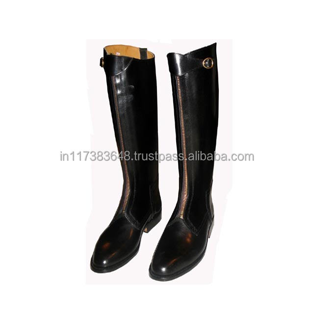 Polo Black leather horse riding boots Manufacturing