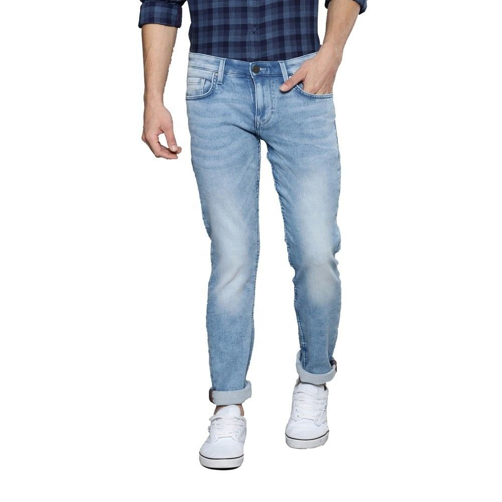 Wholesale Quality Clothes Pants Denim Men's High Waist Funky Wear Blue Casual Straight Pocket Jeans