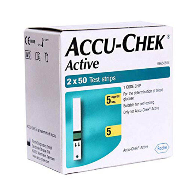 Accu Chek Active Diabetic Test Strips - Box of 100