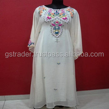 Classic design pattern abaya any occasion/function best chiffon material used white color soft and lightweight party wear kaftan