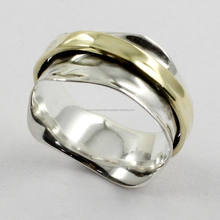 trending Hammered Two Tone 925 Sterling Silver & Brass Spinner Ring Jewelry