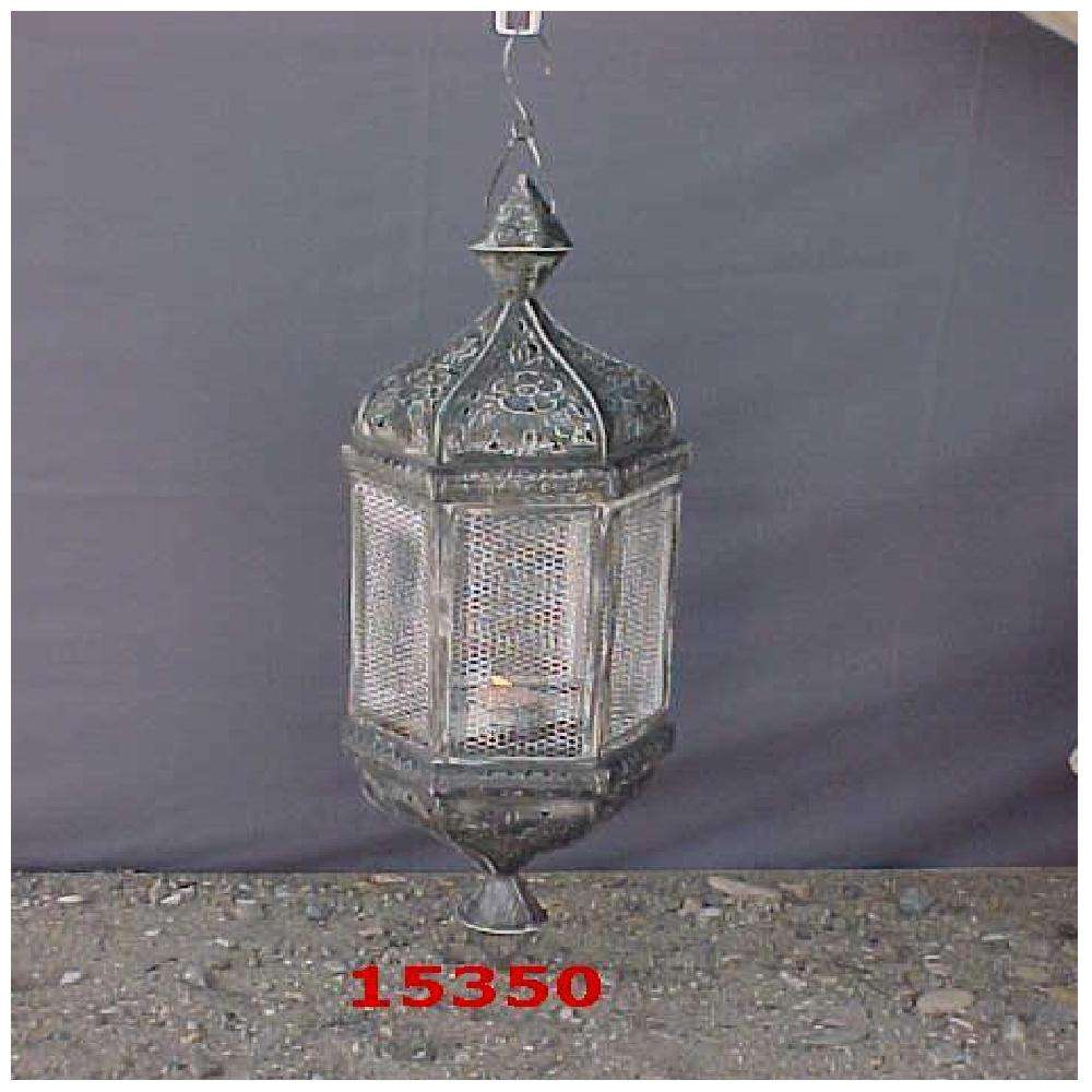 Metal Hurricane Lantern With Glass And Beautifully Decorated With Butterflies