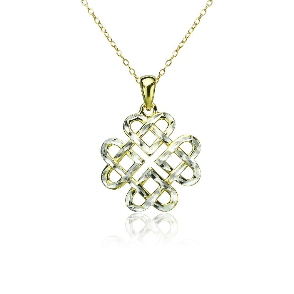 Sterling Silver Diamond Cut Endless Knot Collana