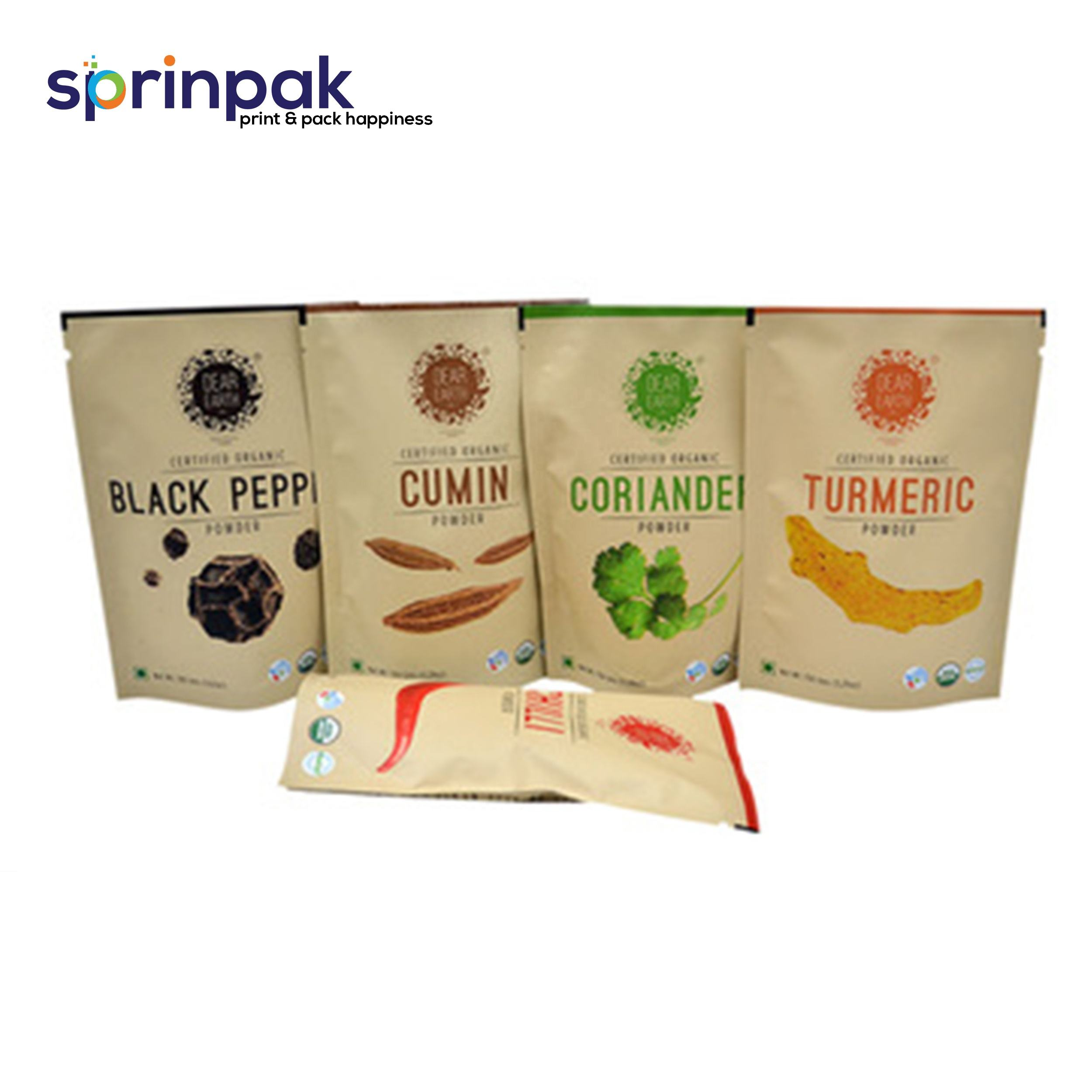 Plastic packaging zipper pouch for spice powder packaging