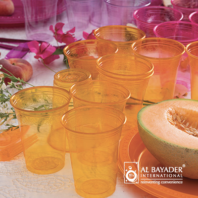 Al Bayader Clear transparent colored plastic cup