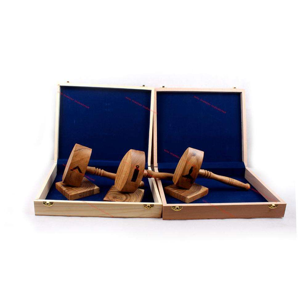 Set of three handcrafted Officer Gavels and a Wooden Presentation box