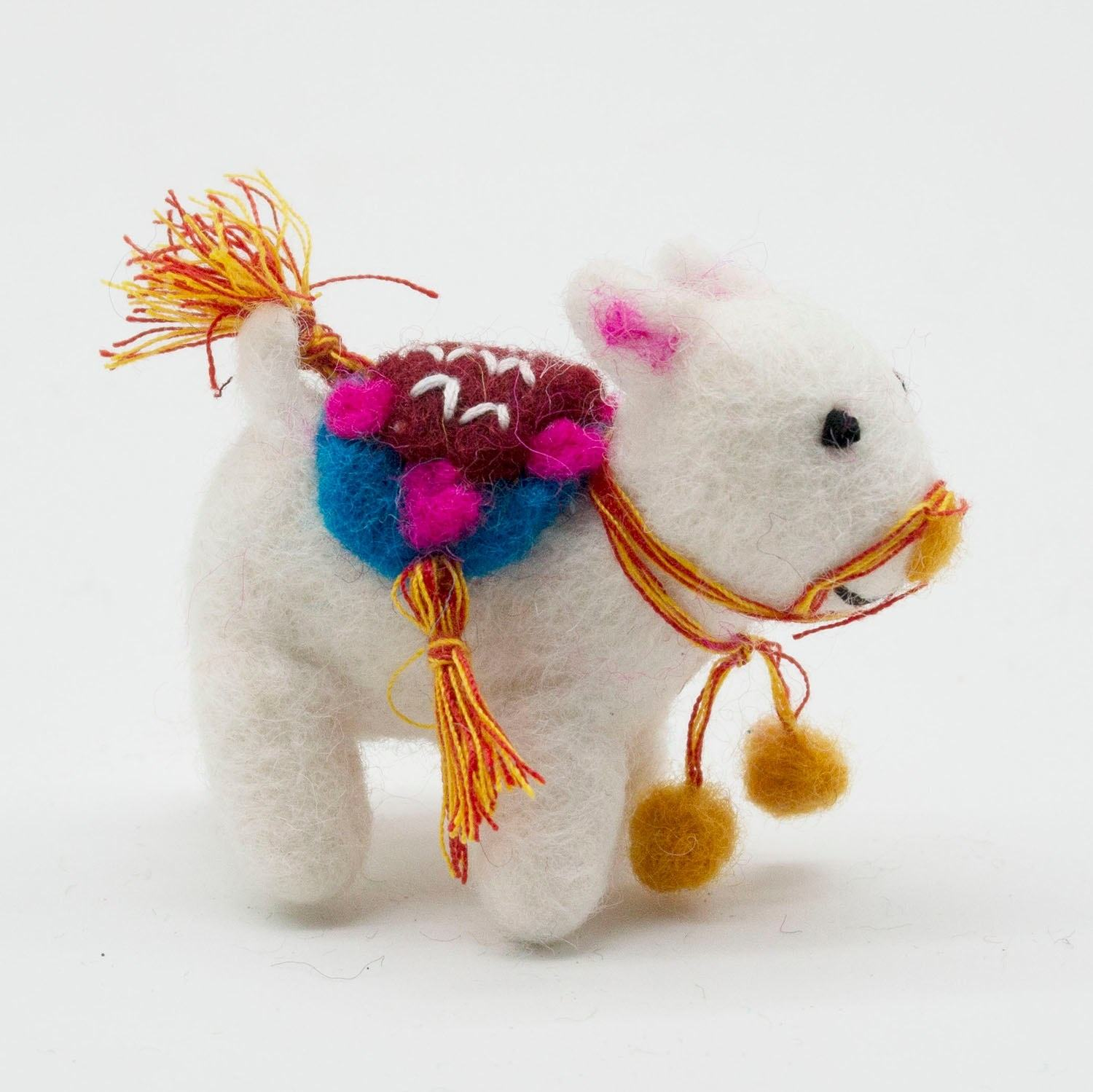 FCS-008 Felt Decorated Animal from Pure New Zealand Wool Christmas Accessories and Crafts Hand Felted by Women Artisan of Nepal