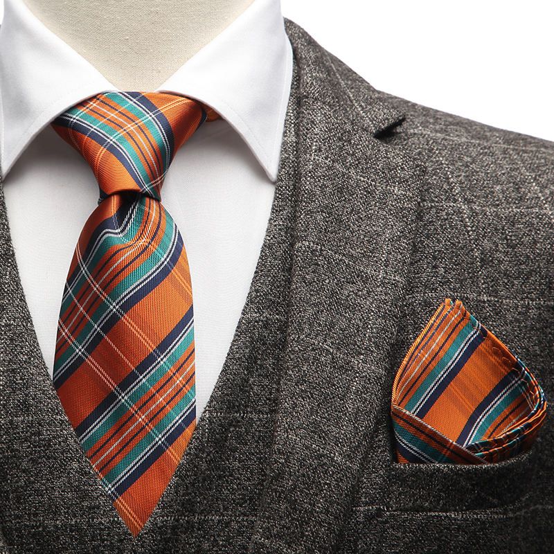 Classic Microfiber Jacquard Mens Plaid Tie Mens Orange Check Tie and Handkerchief Cufflinks Gravatas Set with Gift Box
