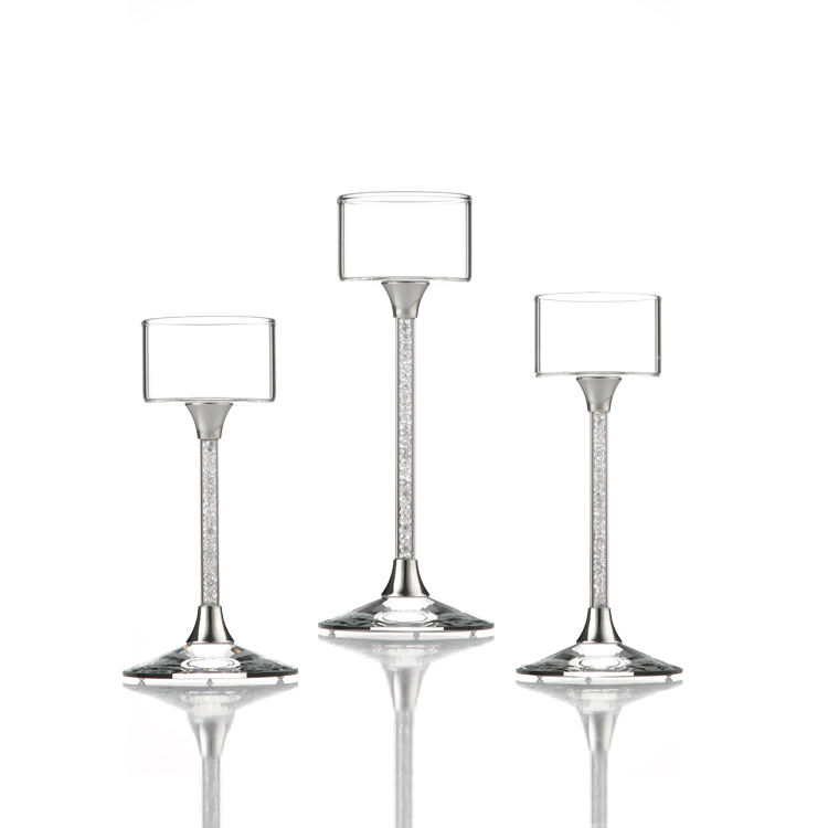 3 Pillar Votive Crystal Stand Glass Candle Stick Decorative Candle Holder Goblet