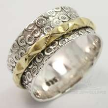 2mm, 9mm Wide Band Spinner Ring Choose All Sizes 925 Solid Sterling Silver & Brass