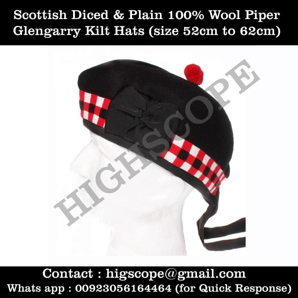 Scottish Highlanders Balmorals vert foncé laine militaire armée Chapeaux Casquettes headgears