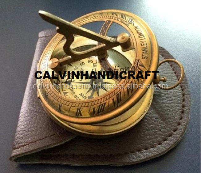 Solid Brass Sundial Compass - antique compass with leather case CHCOM123