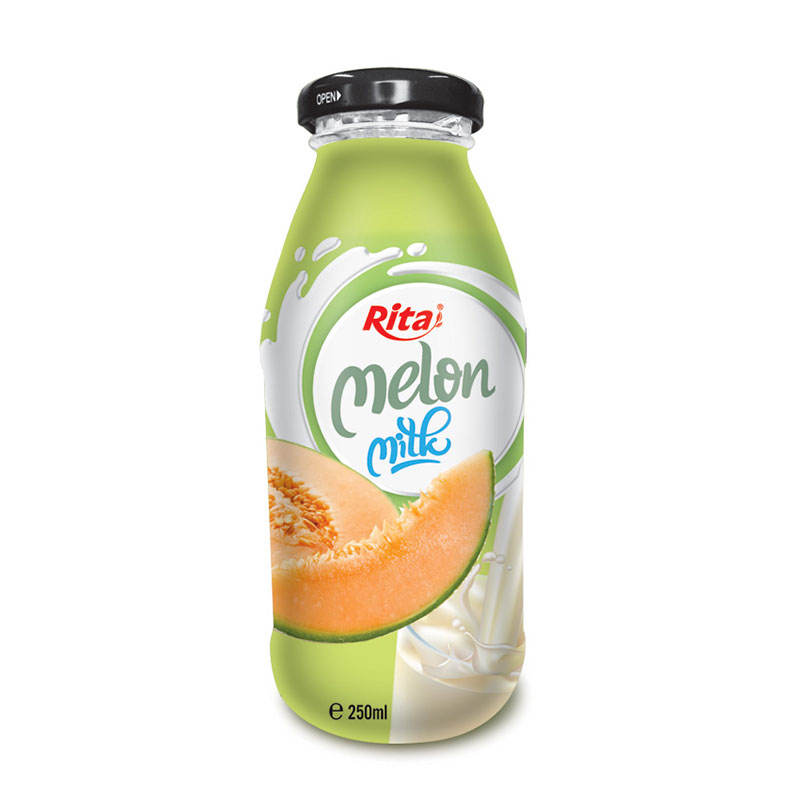 250ml Glass bottle 100% Melon Flavor Fresh Milk Drink
