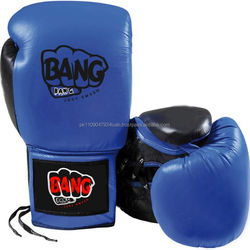 Leather Material and customize Logo lace up style custom boxing gloves