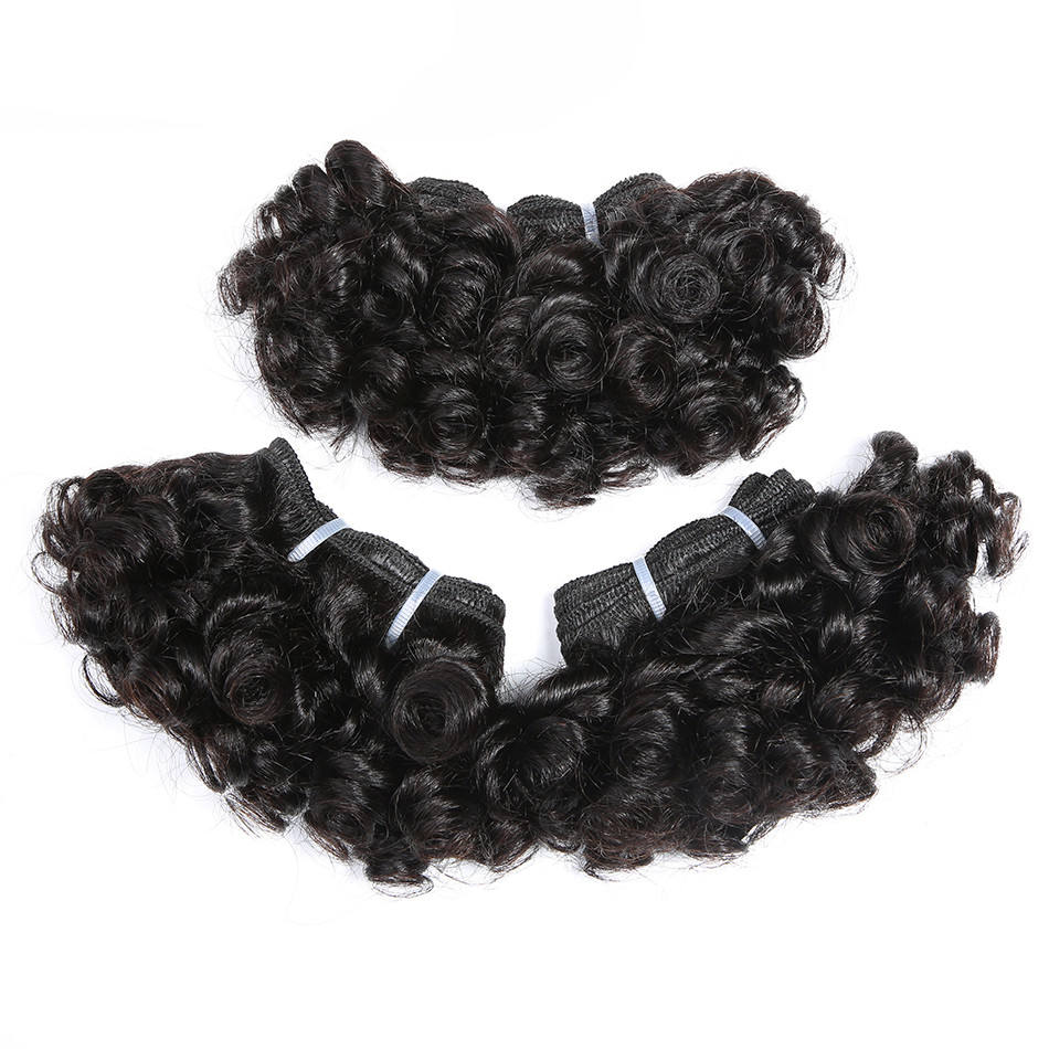 Bouncy Curly Hair 6 inch Short Length 3pcs Human Hair Bundles Remy Hair Weave Extensions 6 Pieces Can Make One Wigs