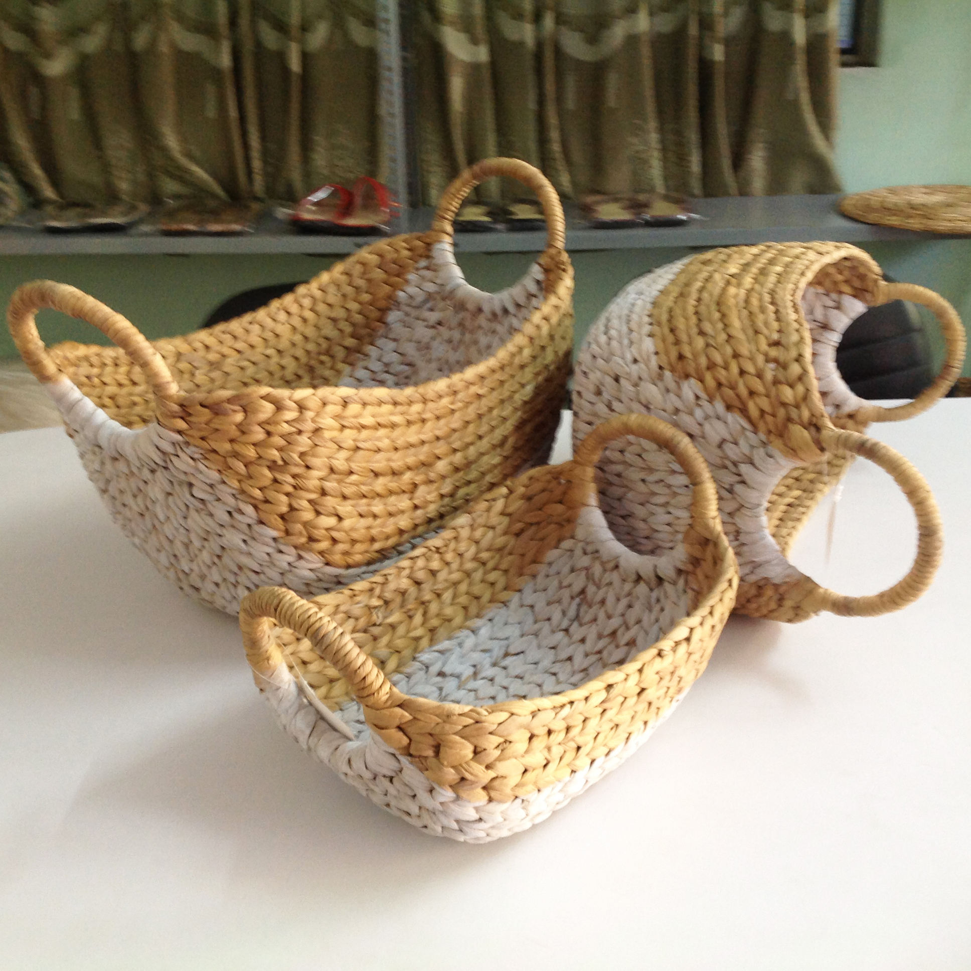 Vietnam Handmade Woven Water Hyacinth Oval Set, easter baskets