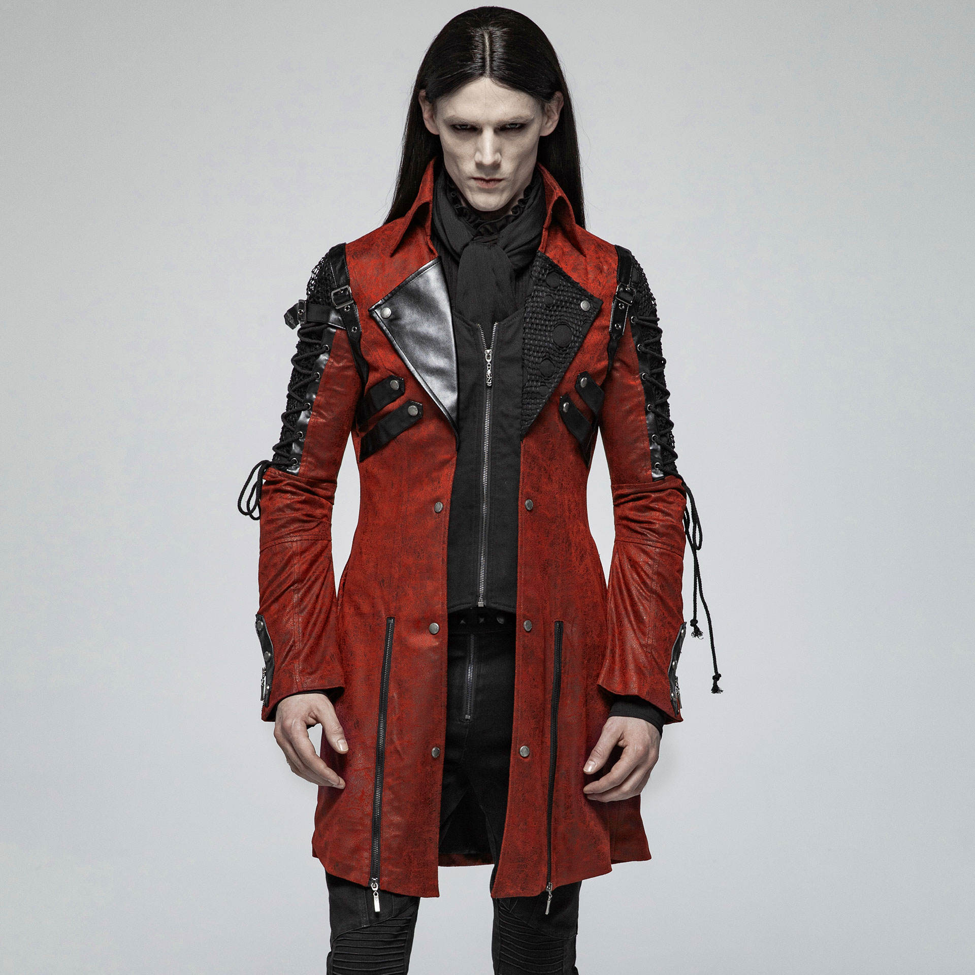 Punk Rave Gothic men's red PU synthetic leather jacket Y-349